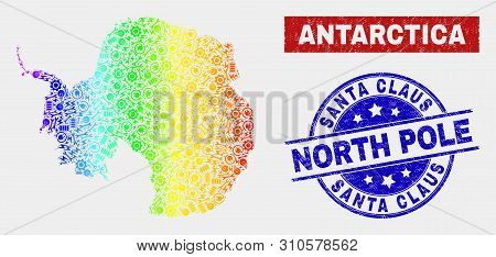 Tools Antarctica Continent Map And Blue Santa Claus North Pole Grunge Stamp. Spectral Gradiented Vec