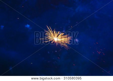 Inexpensive Fireworks, Over The City Sky, Yellow And White. For Any Purpose Use.