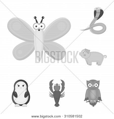 An Unrealistic Animal Monochrome Icons In Set Collection For Design. Toy Animals Bitmap Symbol Stock