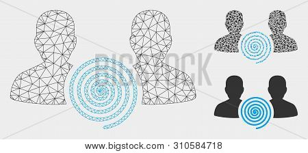 Mesh Hypnosis Sect Model With Triangle Mosaic Icon. Wire Frame Polygonal Mesh Of Hypnosis Sect. Vect