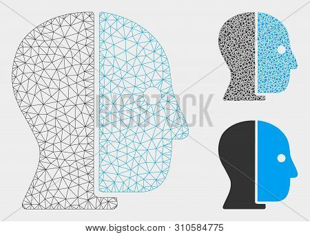 Mesh Hidden Profile Model With Triangle Mosaic Icon. Wire Frame Triangular Mesh Of Hidden Profile. V