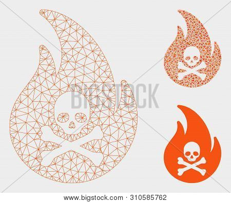 Mesh Hell Fire Model With Triangle Mosaic Icon. Wire Carcass Triangular Network Of Hell Fire. Vector