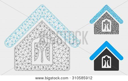 Mesh Home Model With Triangle Mosaic Icon. Wire Frame Polygonal Network Of Home. Vector Collage Of T
