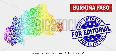 Engineering Burkina Faso Map And Blue For Editorial Textured Seal Stamp. Rainbow Colored Gradient Ve