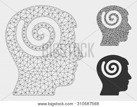 Mesh Hypnosis Model With Triangle Mosaic Icon. Wire Frame Triangular Mesh Of Hypnosis. Vector Mosaic