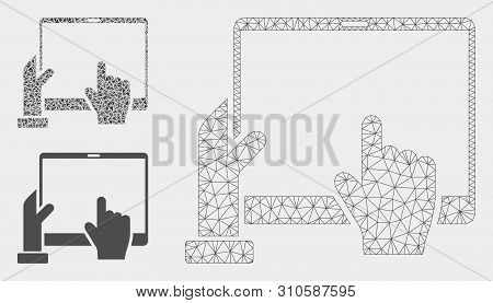 Mesh Hand Points Pda Model With Triangle Mosaic Icon. Wire Frame Polygonal Mesh Of Hand Points Pda.