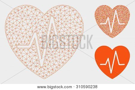 Mesh Heart Ekg Model With Triangle Mosaic Icon. Wire Carcass Triangular Mesh Of Heart Ekg. Vector Mo