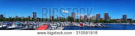 Milwaukee,wi/usa-7/6/18: A Panorama Of Milwaukee Wisconsin On A Bright Sunny Summer Day With A View