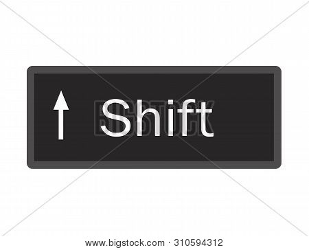 Shift Computer Key Button On White Background. Flat Style. Shift Button Symbol. Shift Key Sign.