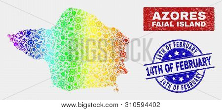 Industrial Faial Island Map And Blue 14th Of February Grunge Seal Stamp. Colorful Gradient Vector Fa