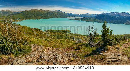 Panoramatic View Of Skilak Lake In Kenai Peninsula In Alaska
