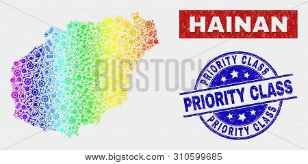 Industrial Hainan Map And Blue Priority Class Grunge Seal Stamp. Colorful Gradiented Vector Hainan M