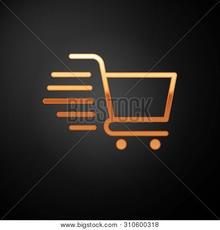 Gold Shopping Cart Icon Isolated On Black Background. Online Buying Concept. Delivery Service Sign.