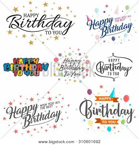 Set Of Letter Happy Birthday Vector For Element Design On The White Background. Collection Of Letter