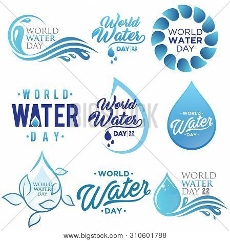 Set Of Letter World Water Day Vector Background For Element Design On The White Background. Collecti