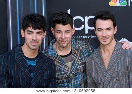 LAS VEGAS - MAY 1:  Joe Jonas, Nick Jonas, Kevin Jonas, Jonas Brothers at the 2019 Billboard Music Awards at MGM Grand Garden Arena on May 1, 2019 in Las Vegas, NV