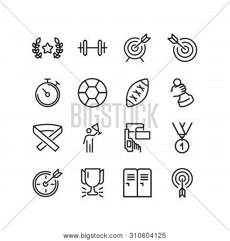 Sports Line Icons. Set Of Line Icons. First Place, Soccer Ball, Weight Barbell. Sports Concept. Vect