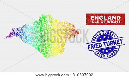 Productivity Isle Of Wight Map And Blue Fried Turkey Textured Seal. Rainbow Colored Gradiented Vecto