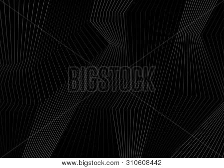Black Refracted Curved 3d Lines Abstract Tech Background. Vector Geometric Design