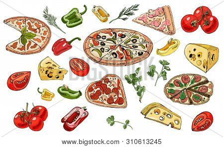 Set  With Pizza, Cheese, Herbs And  Vegetables. Hand Drawn Ink And Colored Objects Isolated On White