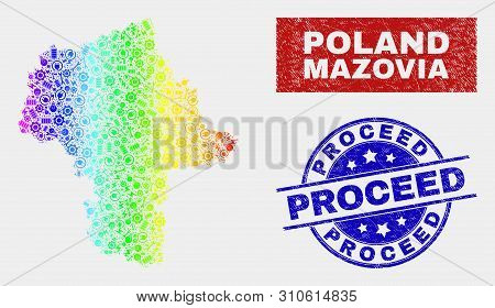 Productivity Masovian Voivodeship Map And Blue Proceed Textured Seal Stamp. Colorful Gradiented Vect