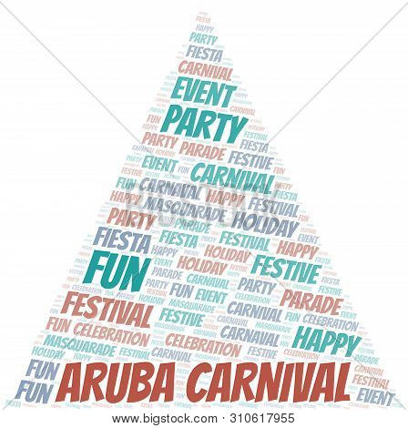 Aruba Carnival word cloud vector made with text only poster
