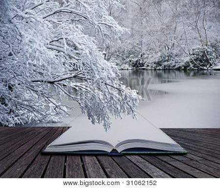 Creative Concept Idea Of Winter Landscape Coming Out Of Pages In Magical Book