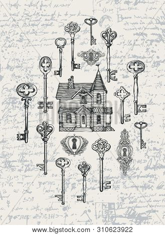 Vector Banner With Vintage Keys, Keyholes And Old House In Retro Style. Hand-drawn Illustration On A