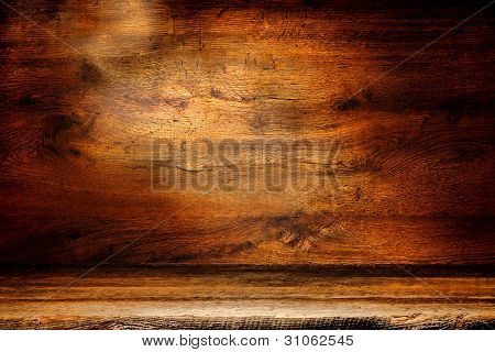Old Wood Plank And Antique Board Grunge Background