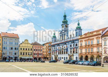 Ceske Budejovice,czech Republic - June 20,2019 - At The Main Square Of Ceske Budejovice. Ceske Budej