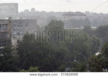 Rainy Day - View From A Window During Rainstorm