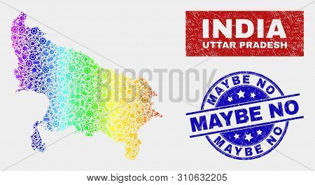 Service Uttar Pradesh State Map And Blue Maybe No Grunge Seal Stamp. Spectrum Gradiented Vector Utta