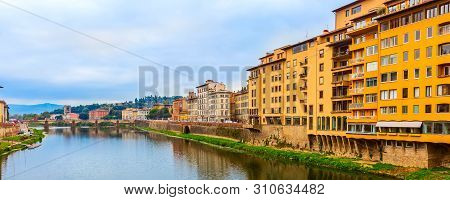 Florence, Italy City View With Traditional Italian Houses, Arno River, Boboli Gardens And Piazzale M
