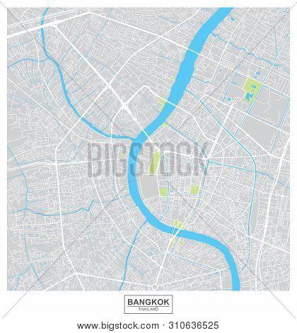 Poster Of Bangkok City, Thailand Vector Map