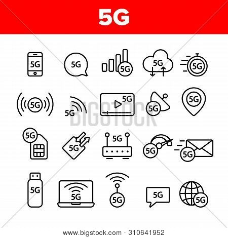 5g Fast Network, Connection To Website Vector Icons Set. High Speed Internet, 5g Generation Of Servi