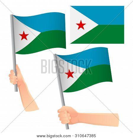 Djibouti Flag In Hand. Patriotic Background. National Flag Of Djibouti Vector Illustration