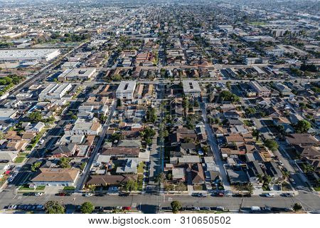 Afternoon aerial view of residential neighborhoods in the south bay area of Los Angeles County, California.