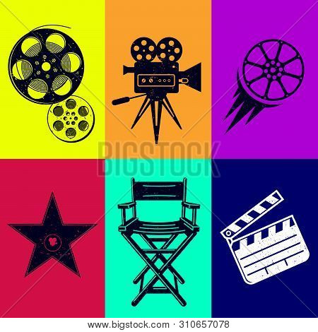 Different Icons For Movie And Production In Vintage Style. Movie Camera, Star Award, Movie Clapper,