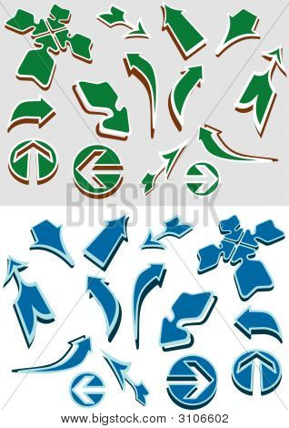 different vector arrows in two color