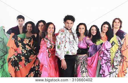 Closeup.show Group Gypsy Dance.isolated On A White