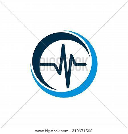 Pulse Cardiogram Ecg Medicare Logo Template Illustration Design. Vector Eps 10.