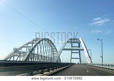 Crimean Bridge. Road Bridge Connecting The Banks Of The Kerch Strait Between Taman And Kerch.
