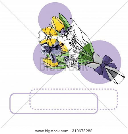 Set Of  Bouquets With Yellow Tulips And Violet Iris, Lilac Circles And Frames . Hand Drawn Ink And C