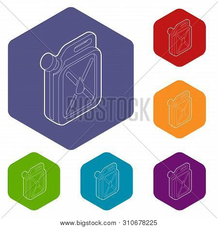 Jerrycan Icons Vector Colorful Hexahedron Set Collection Isolated On White