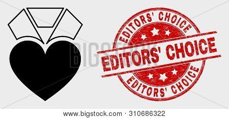 Vector Heart Award Pictogram And Editors' Choice Seal. Red Round Grunge Seal With Editors' Choice Te
