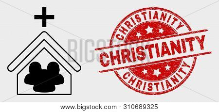 Vector Church People Pictogram And Christianity Seal Stamp. Red Round Textured Seal Stamp With Chris
