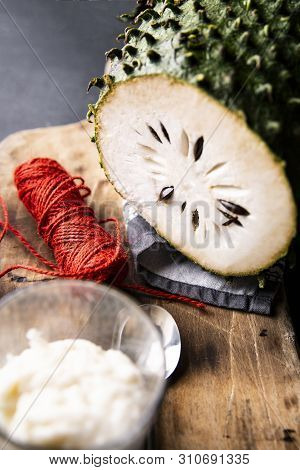 Soursop, An Exotic Fruit. Sweet Tropical Green Fruit