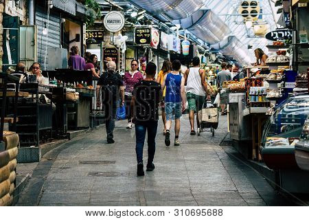 Jerusalem Israel July 3, 2019 View Of Unknowns Israeli People Walking And Shopping At The Mahane Yeh