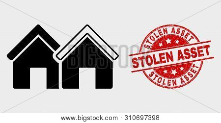 Vector Houses Pictogram And Stolen Asset Stamp. Red Rounded Scratched Stamp With Stolen Asset Text.