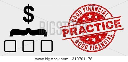 Vector Dollar Aggregation Pictogram And Good Financial Practice Seal Stamp. Red Round Textured Seal